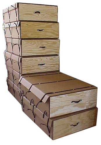 Stacked custom triple wall & wood boxes