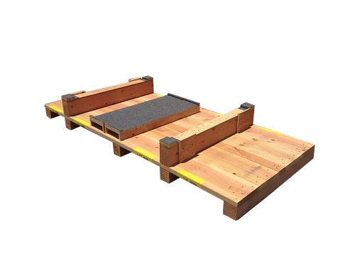deck of wooden crate with carpet lining