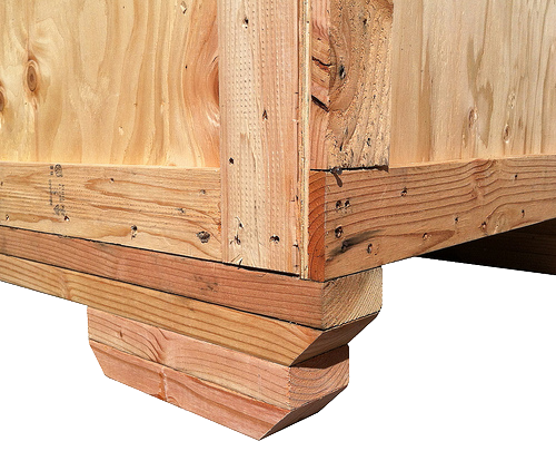 double stacked chamferred skids on a wood crate