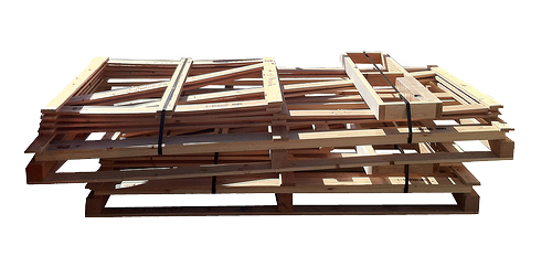 wood crates banded in knock down form