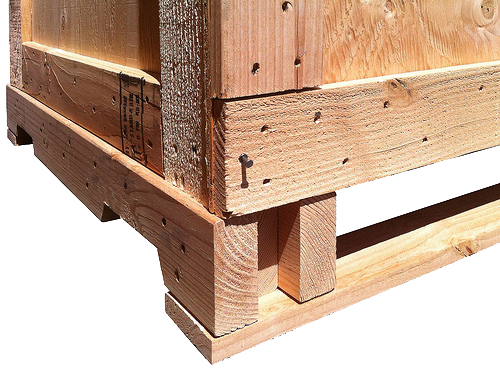 deck of a wood crate designed for 4-way forklift entry