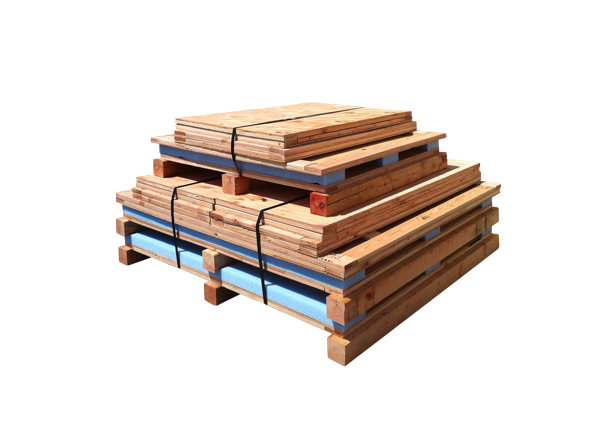 wooden containers stacked for knock down shipment