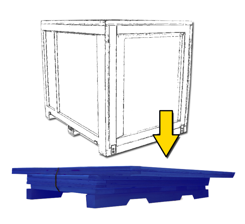 illustration of wood crate in knock down position