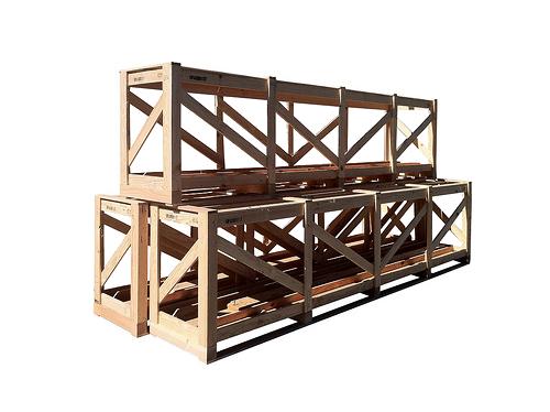 three wood crates