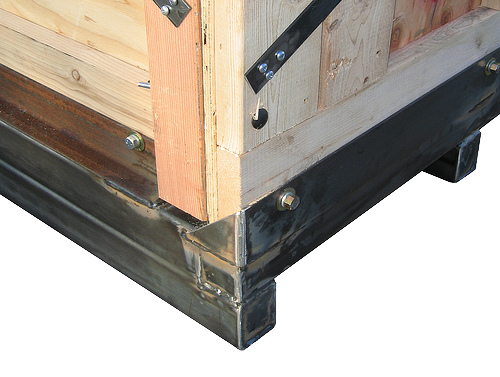 wooden crate top box attached to steel base