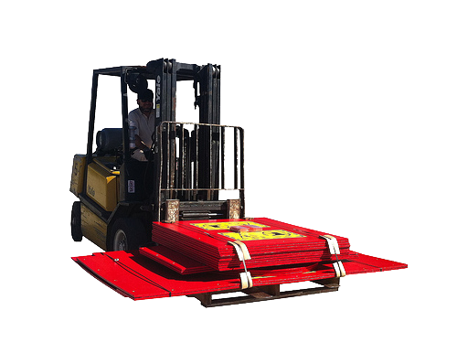 wooden container supported by forklift