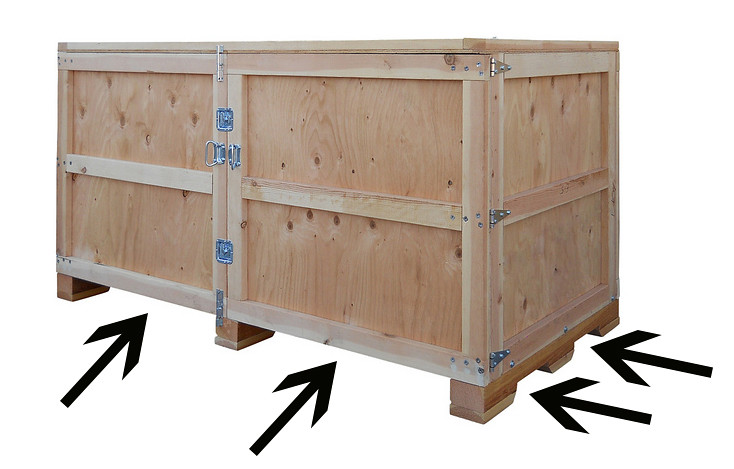 shipping crate 4 way entry chamferred skid