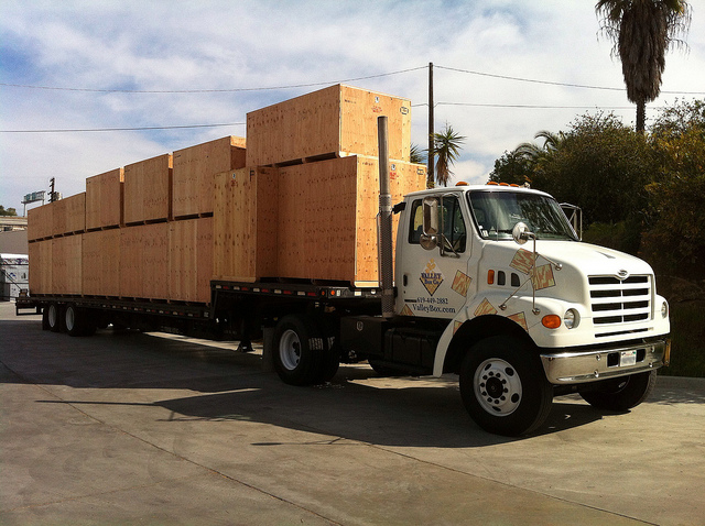 shipping crates loaded on truck