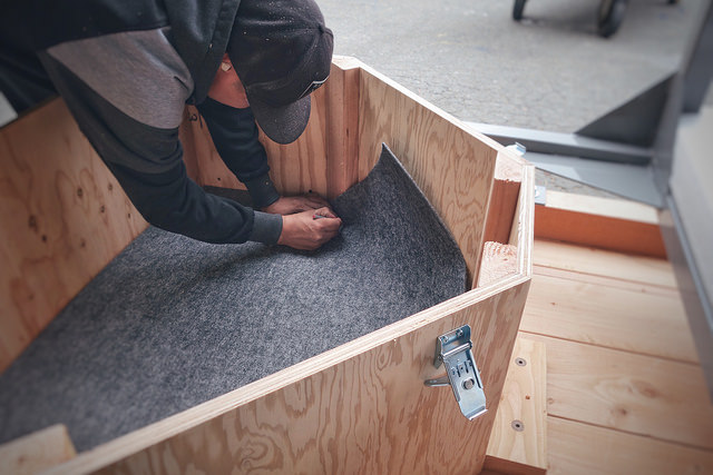 wooden containers with carpet lined interior