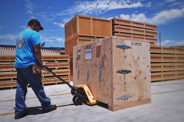 san diego crating wood crate on pallet jack