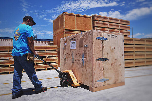 san diego crating wood crate on pallet jack