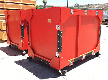 red trade show crate with steel plates
