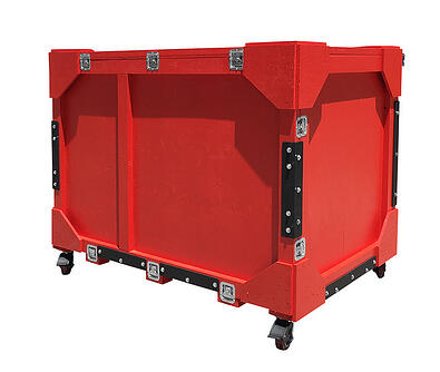 red trade show crate with steel plate