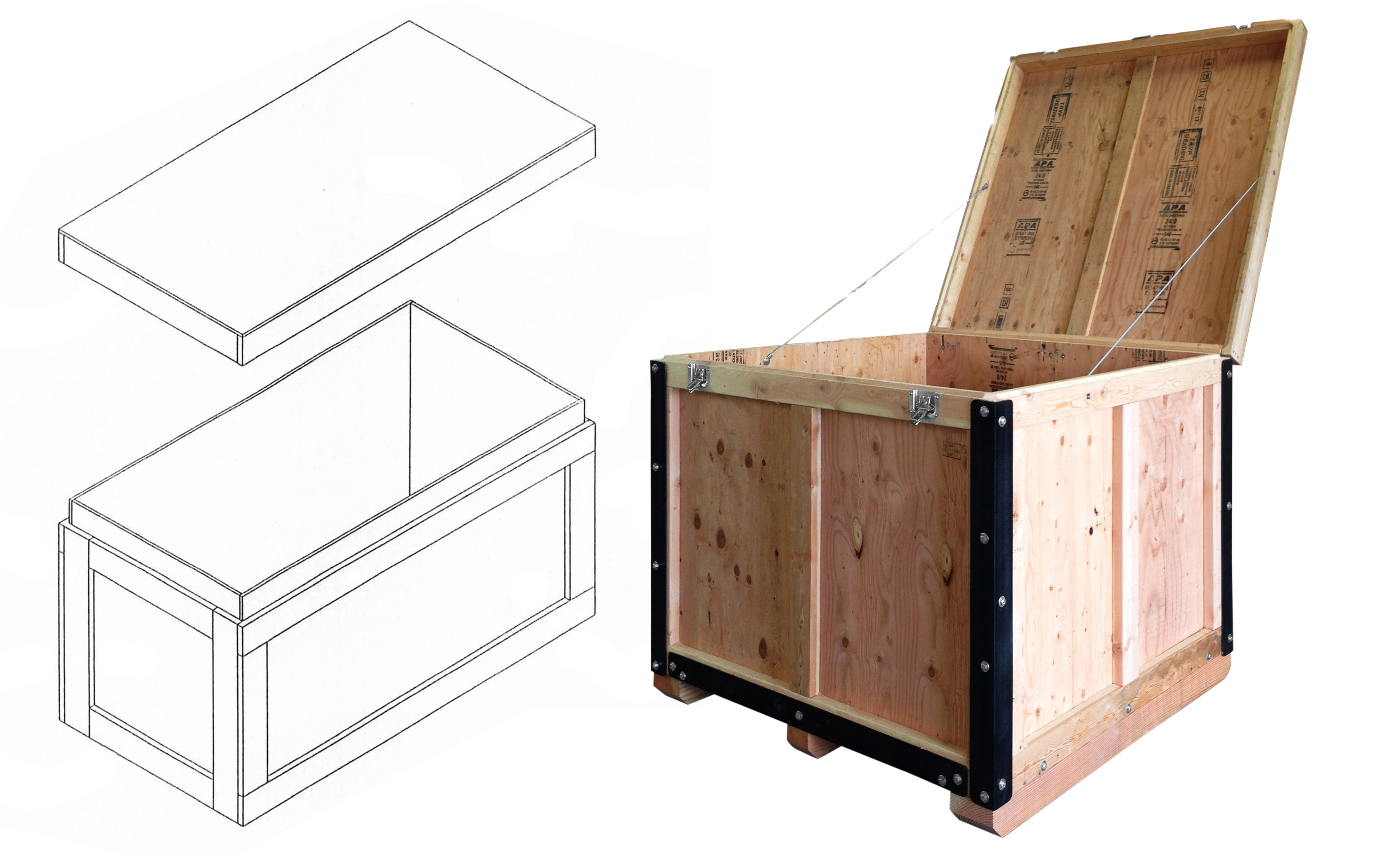 slip-lid on reusable shipping crate
