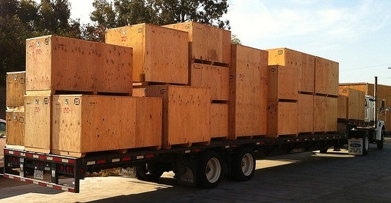 wooden crates loaded on truck
