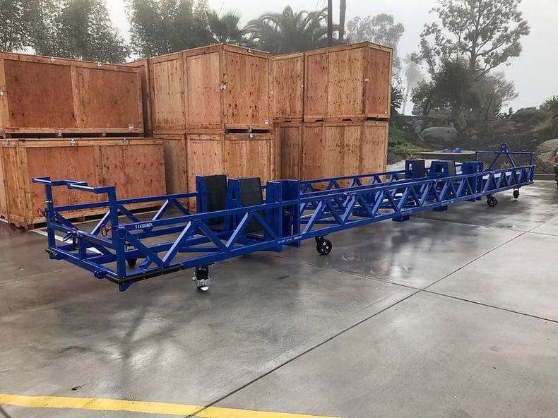 steel wing cart powder coat blue