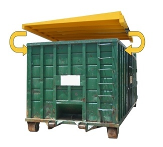 roll off 40 yard dumpster swppp-lid-blocks